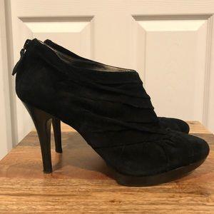Banana Republuc black suede pkeated Boots Heels 9